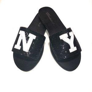 Shoes - Black Glitter NY Slip On Sandals ✨